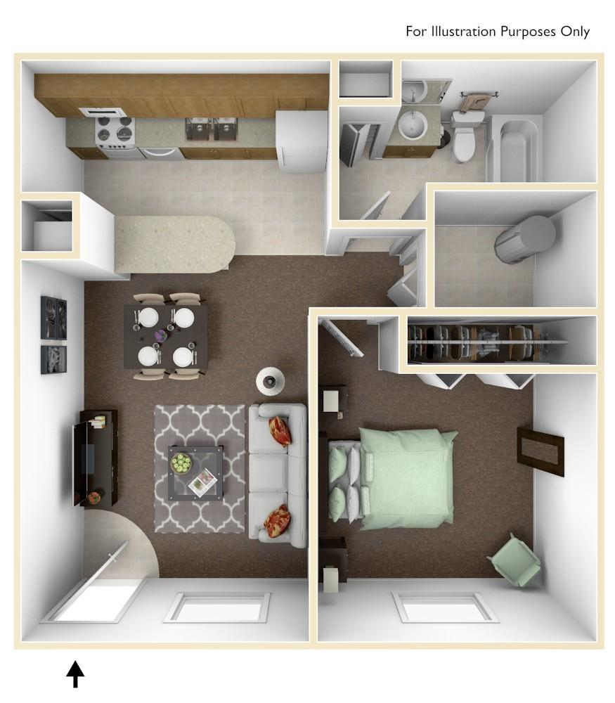 One-bedroom Floor Plan, 576 sq.ft.