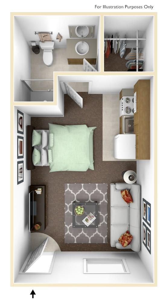 Studio apartment floorplan, 300 sq.ft.